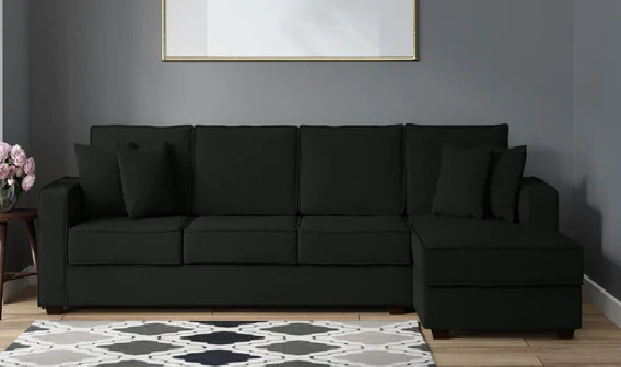 Opus LHS Three-Seater Sofa with Lounger and Cushions by Maniraj Furniture