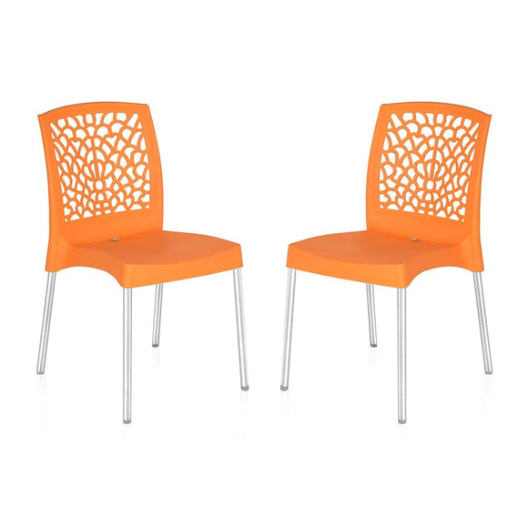 Nilkamal Novella 19 Chair, Set of 2 (Orange)