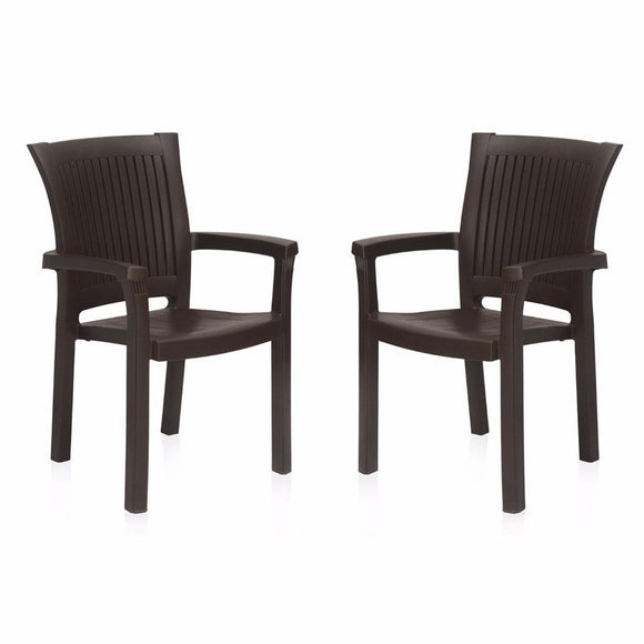 Nilkamal Platinum Chair, Set of 2 (Rattan Brown)