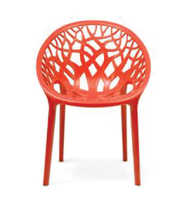 Nilkamal Crystal PP Bright Red Chair