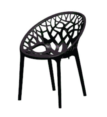 Nilkamal Crystal PP Iron Black Chair