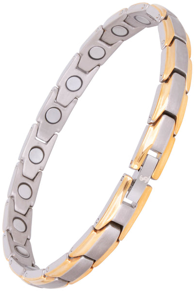 Elegant Womens Titanium Magnetic Therapy Anklet/Large Bracelet: 9.4 inches (24cm) / Silver & Gold - Smarter LifeStyle Shop