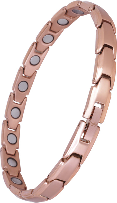 Elegant Womens Titanium Magnetic Therapy Anklet/Large Bracelet: 9.4 inches (24cm) / Rose Gold - Smarter LifeStyle Shop