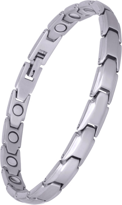 Elegant Womens Titanium Magnetic Therapy Anklet/Large Bracelet: 9.4 inches (24cm) / Silver - Smarter LifeStyle Shop