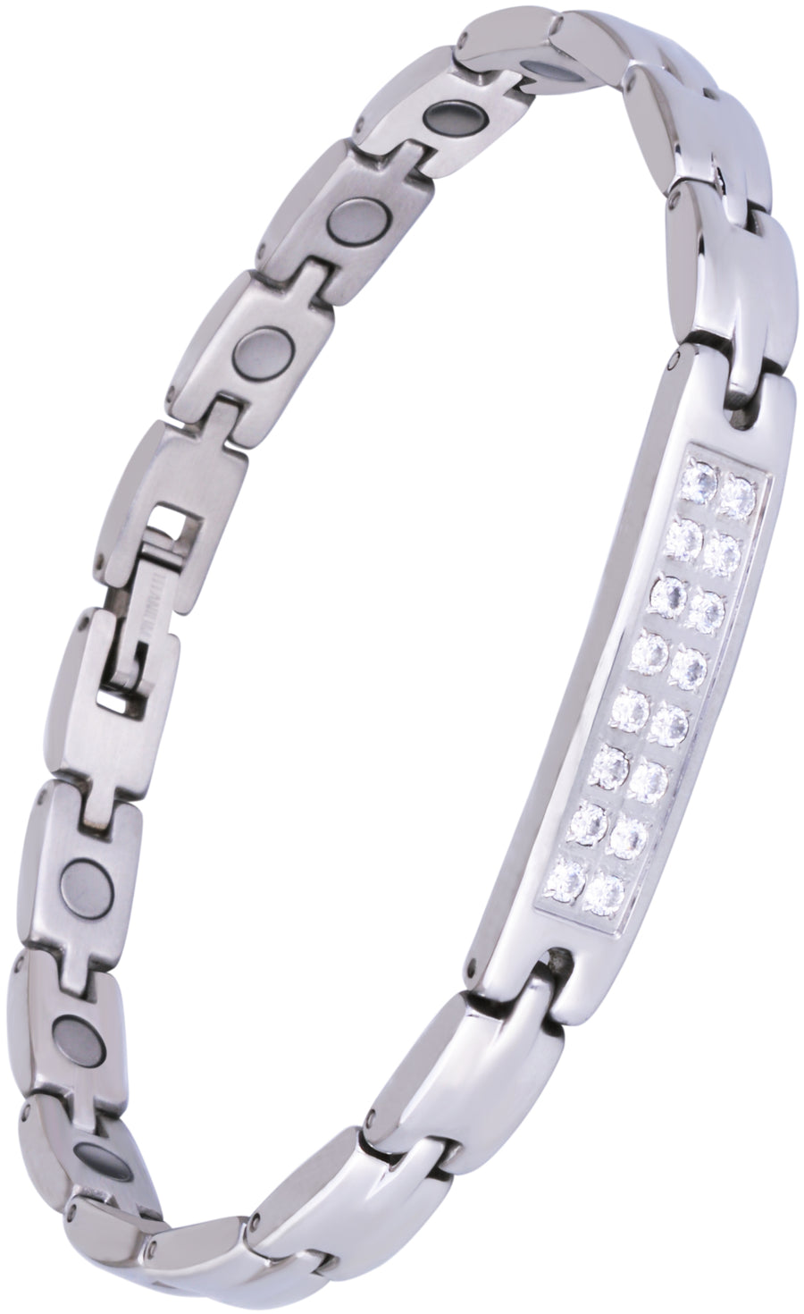 Sparkling Womens Czech Crystal Titanium Magnetic Therapy - Anklet/Large Bracelet: 9.4 inches (24cm) / Silver - Smarter LifeStyle Shop