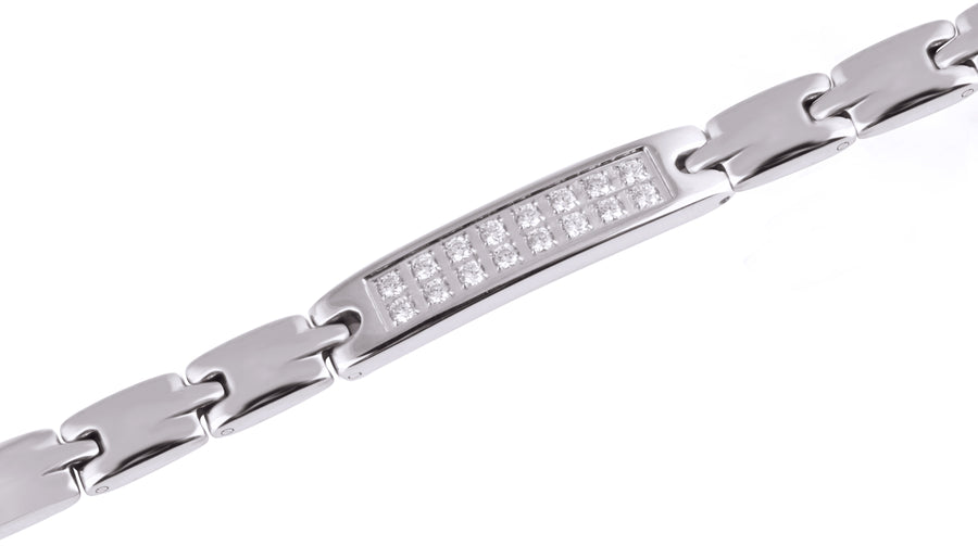 Sparkling Womens Czech Crystal Titanium Magnetic Therapy Bracelet - 7.8 Inches (20cm) / Silver - Smarter LifeStyle Shop