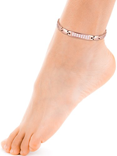 Sparkling Womens Czech Crystal Titanium Magnetic Therapy Anklet/Large Bracelet: 9.4 inches (24cm) / Rose Gold - Smarter LifeStyle Shop