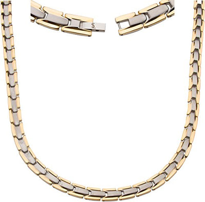 Elegant Titanium Magnetic Therapy Necklace - Unisex - Width: .35in, Solid / Silver & Gold - Smarter LifeStyle Shop