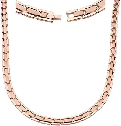 Elegant Titanium Magnetic Therapy Necklace - Unisex - Width: .35in, Solid / Rose Gold - Smarter LifeStyle Shop