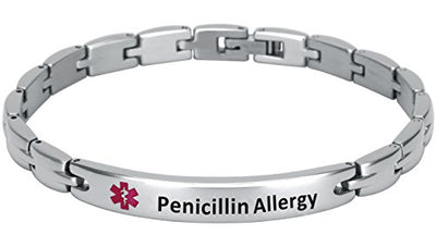 Elegant Surgical Grade Steel Medical Alert ID Bracelet For Men and Women (Women's, Penicillin Allergy) - Smarter LifeStyle Shop