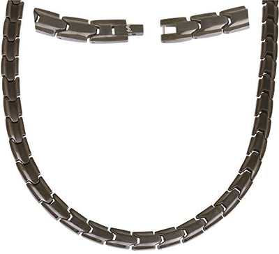 Elegant Titanium Magnetic Therapy Necklace - Unisex - Width: .35in, Solid / Gunmetal Gray - Smarter LifeStyle Shop