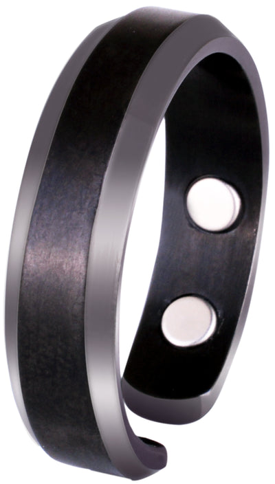 Elegant Titanium Magnetic Therapy Ring Gunmetal Gray, Size 07 - Smarter LifeStyle Shop