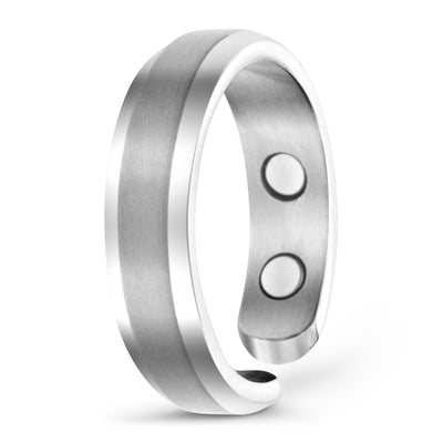 Elegant Titanium Magnetic Therapy Ring Silver, Size 10 - Smarter LifeStyle Shop
