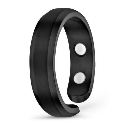 Elegant Titanium Magnetic Therapy Ring - Black, Size 07 - Smarter LifeStyle Shop