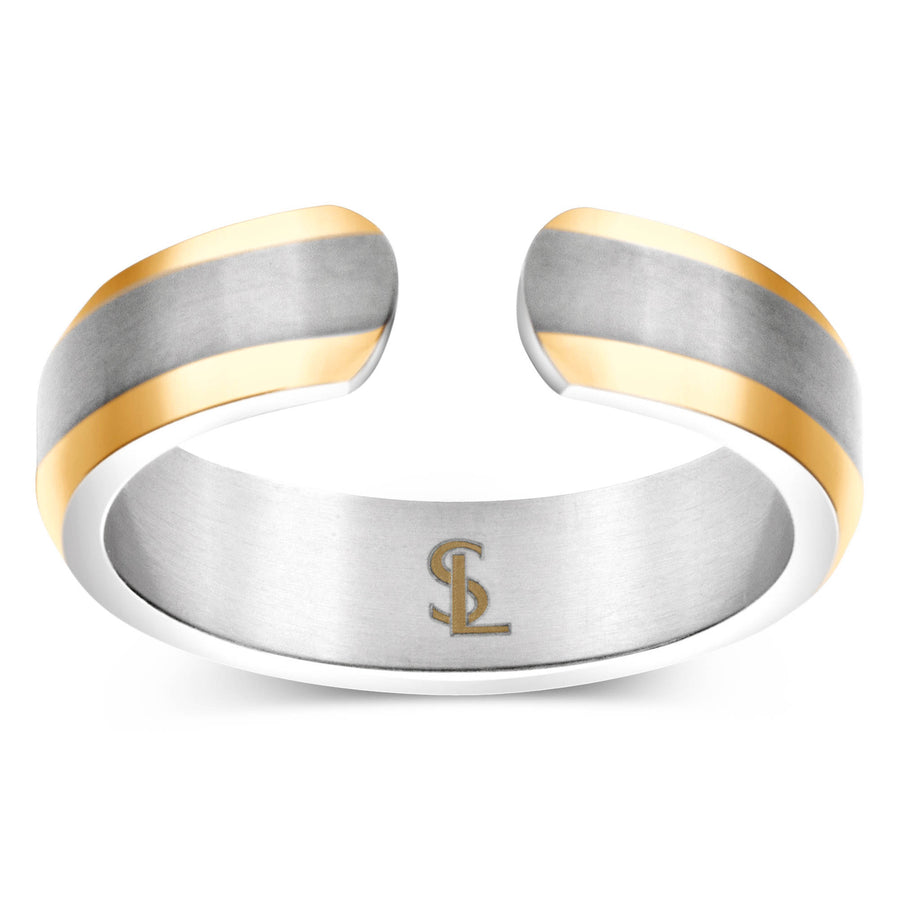 Elegant Titanium Magnetic Therapy Ring Silver & Gold, Size 10 - Smarter LifeStyle Shop