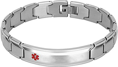 Elegant Surgical Grade Steel Medical Alert ID Bracelet For Men and Women (Men's, {Blank / Empty} No Message) - Smarter LifeStyle Shop
