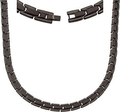 Elegant Titanium Magnetic Therapy Necklace - Unisex - Width: .35in, Solid / Black - Smarter LifeStyle Shop