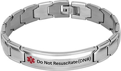 Elegant Surgical Grade Steel Medical Alert ID Bracelet - Men's / Do Not Resuscitate (Dnr) - Smarter LifeStyle Shop