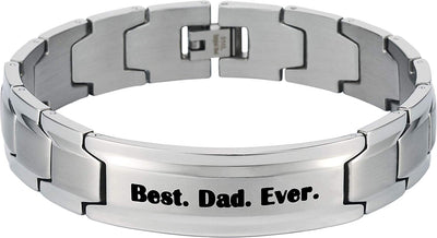 Smarter LifeStyle Elegant DAD & Father Themed Surgical Grade Steel Men's Bracelet Gift, Many Styles to Choose from (Best. Dad. Ever. - Silver) - Smarter LifeStyle Shop