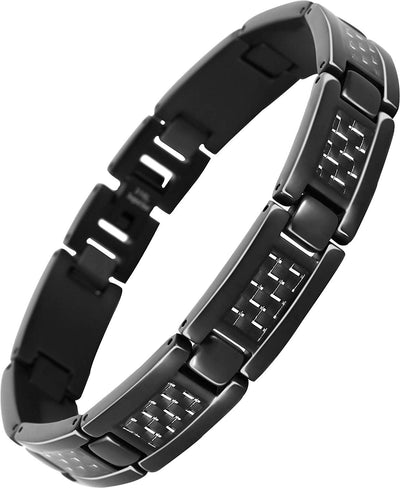 Elegant Surgical Grade Steel Men's Carbon Fiber Bracelet (Black Bracelet - Gray Carbon Fiber) - Smarter LifeStyle Shop