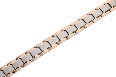 Elegant Men's Double Magnet Wide Titanium Magnetic Therapy Bracelet Pain Relief for Arthritis and Carpal Tunnel (Silver & Rose Gold) - Smarter LifeStyle Shop