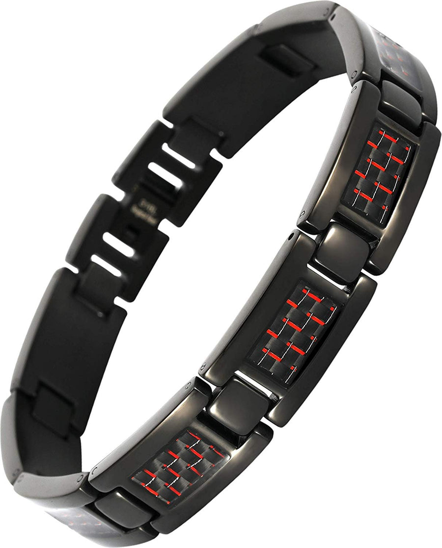 Elegant Surgical Grade Steel Men's Carbon Fiber Bracelet (Black Bracelet - Red Carbon Fiber) - Smarter LifeStyle Shop