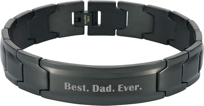 Smarter LifeStyle Elegant DAD & Father Themed Surgical Grade Steel Men's Bracelet Gift, Many Styles to Choose from (Best. Dad. Ever. - Black) - Smarter LifeStyle Shop