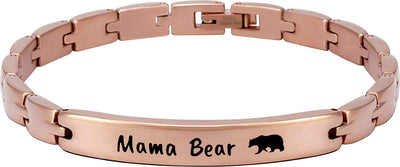 "(""Mama Bear"" - Rose Gold) Elegant Mom & Mother Themed Surgical Grade Steel Women's Bracelet - Smarter LifeStyle Shop"