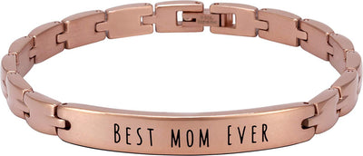 "(""Best Mom Ever"" - Rose Gold) Elegant Mom & Mother Themed Surgical Grade Steel Women's Bracelet - Smarter LifeStyle Shop"