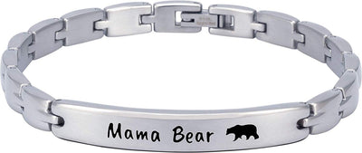 "(""Mama Bear"" - Silver) Elegant Mom & Mother Themed Surgical Grade Steel Women's Bracelet - Smarter LifeStyle Shop"