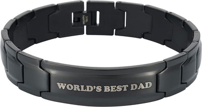 Smarter LifeStyle Elegant DAD & Father Themed Surgical Grade Steel Men's Bracelet Gift, Many Styles to Choose from (World's Best DAD - Black) - Smarter LifeStyle Shop