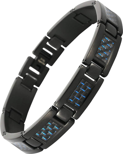 Elegant Surgical Grade Steel Men's Carbon Fiber Bracelet (Black Bracelet - Blue Carbon Fiber) - Smarter LifeStyle Shop