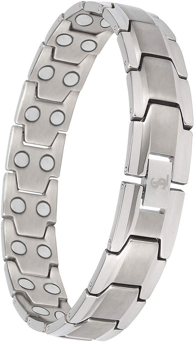 Elegant Men's Double Magnet Wide Titanium Magnetic Therapy Bracelet Pain Relief for Arthritis and Carpal Tunnel (Silver) - Smarter LifeStyle Shop