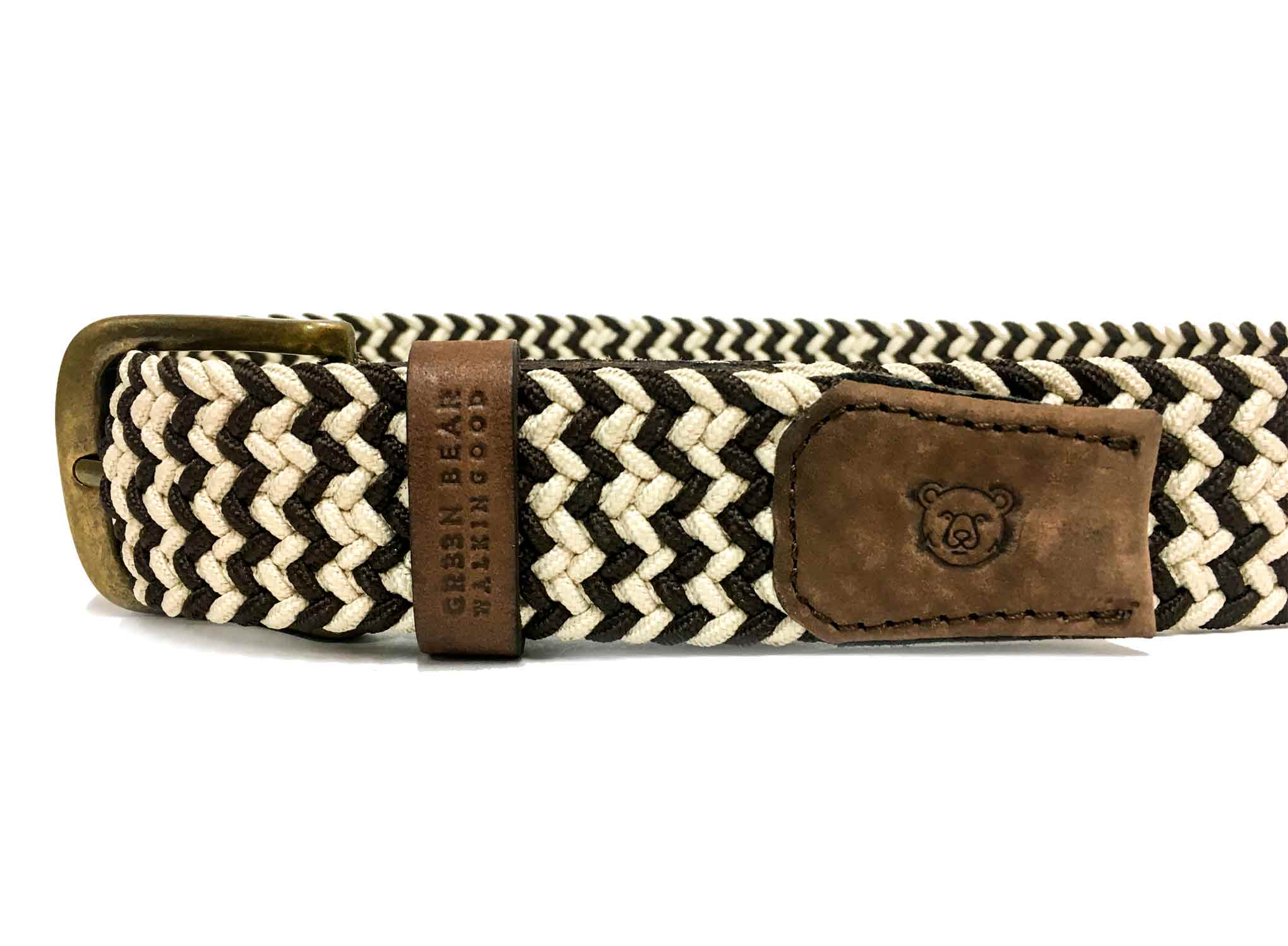 Belt Casual - Brown / White - Green Bear Shoes