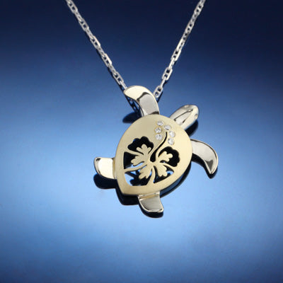 Turtle Pendant Necklace - Diamond and Gold