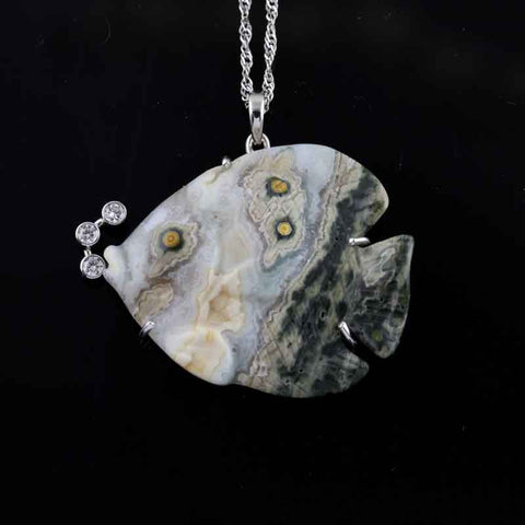 Fish Pendant - Agate Bubble