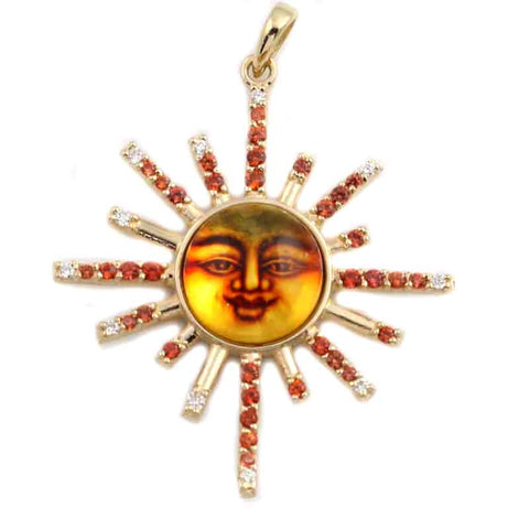 Sun Pendant - Amber and Orange Sapphire