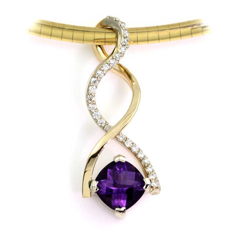 Amethyst Diamond Twist Pendant