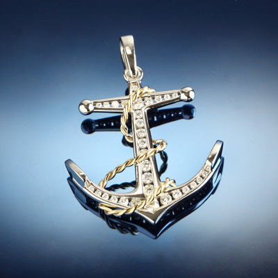 Diamond Anchor Pendant - Large