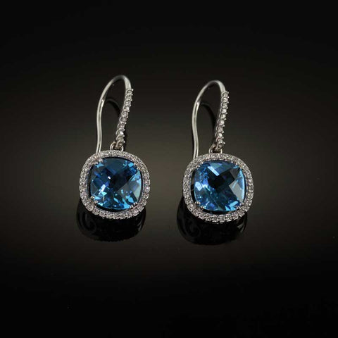 Blue Topaz Diamond Earrings