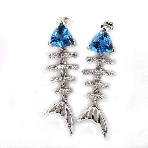 Bonefish Earrings - Diamond and Blue Topaz