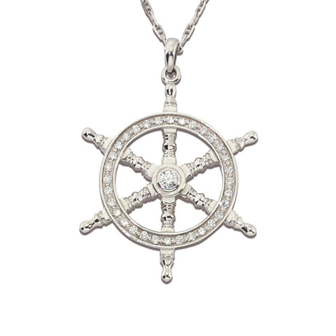 Captain Wheel Pendant - Diamond and Gold