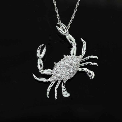 Diamond Crab Pendant Necklace - Large