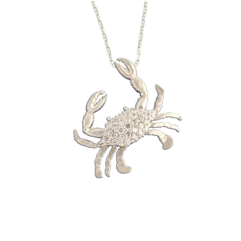 Diamond Crab Pendant Necklace