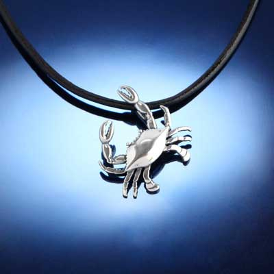 Crab Pendant Necklace - 14K white or 14K yellow gold