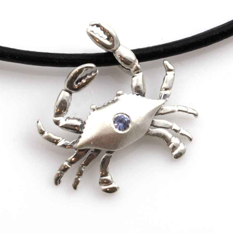 Crab Pendant Necklace - Silver with Sapphire