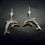 Dolphin Earrings - Diamond and Gold