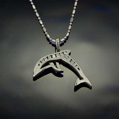 Dolphin Pendant Necklace - Diamond