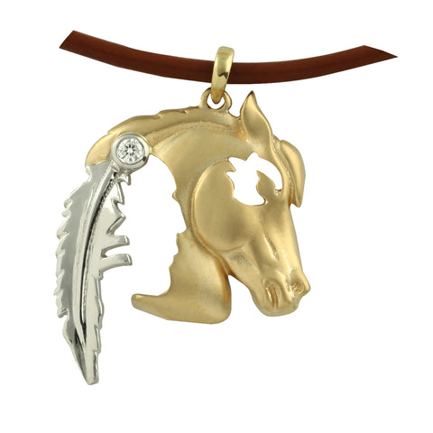 Indian Horsehead Pendant - Gold