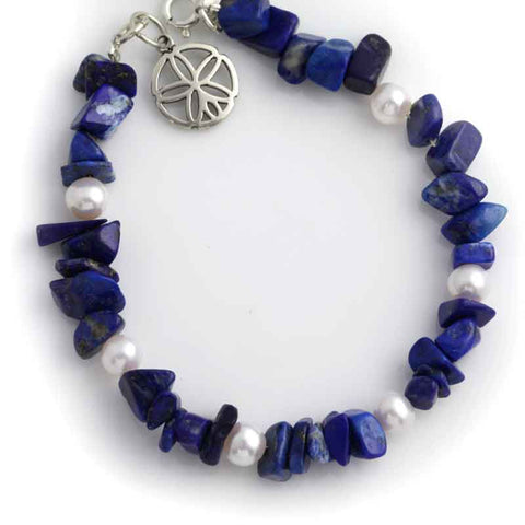 lapis pearl bracelet with sand dollar charm